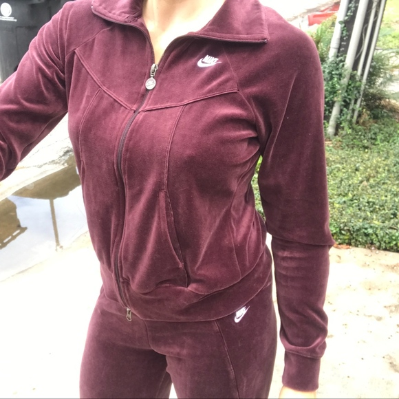 Nike Pants Jumpsuits Ladies Maroon Velour Tracksuit Size M Poshmark